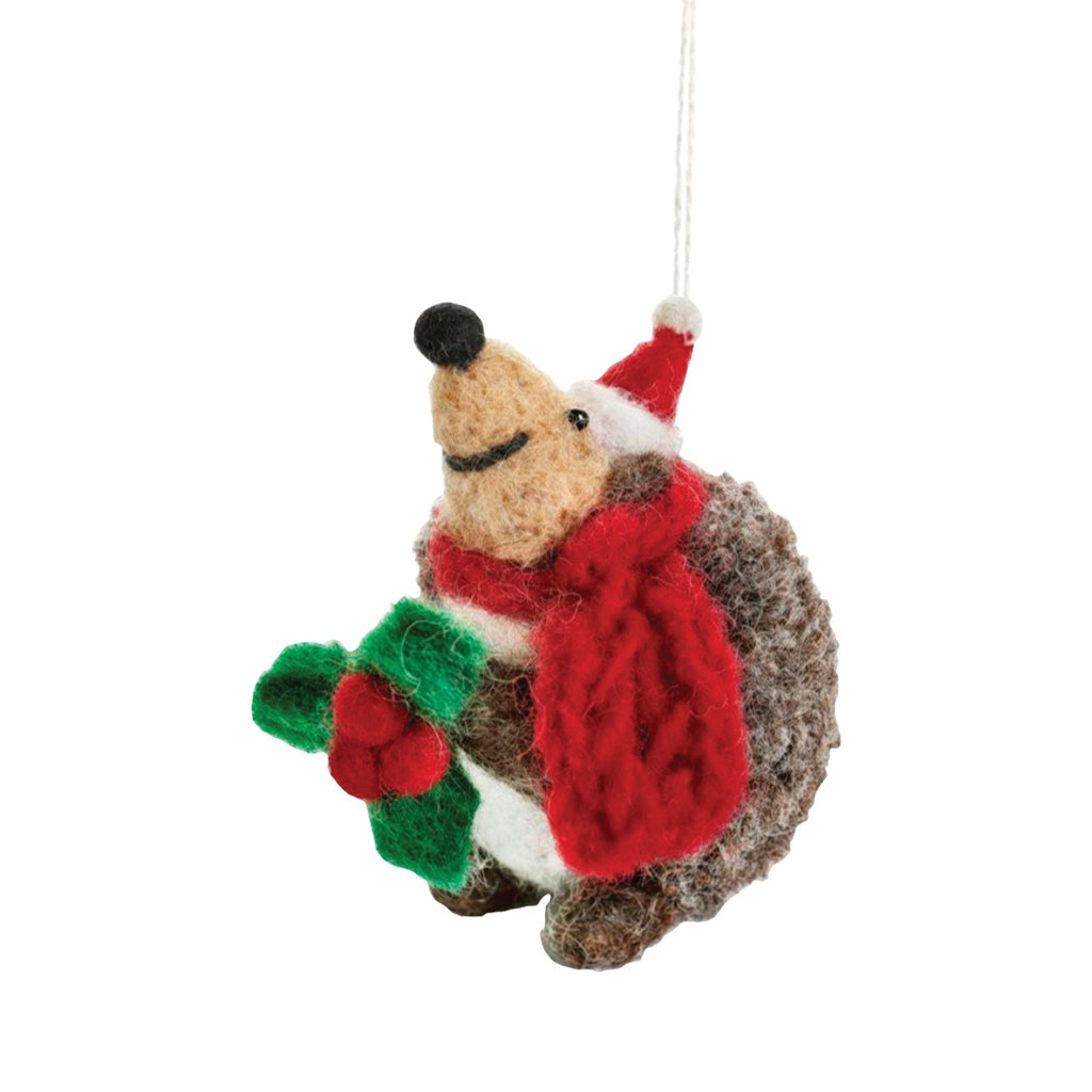 Felt Hedgehog Christmas Tree Decoration