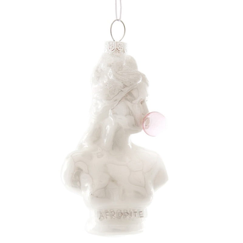 Glass Bust Blowing Bubbles Christmas Tree Decoration