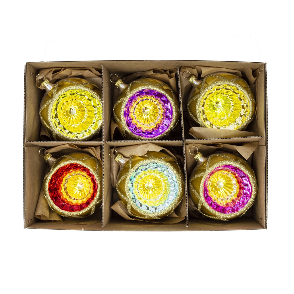 Vibrant Handblown Glass Baubles (Set of 6)