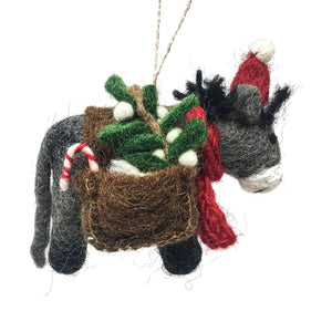 Felt Donkey With Bags Christmas Tree Decoration