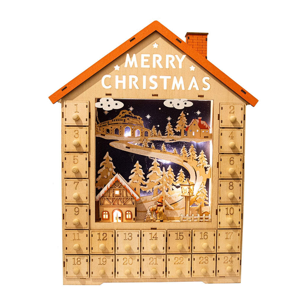 Merry Christmas House Wooden Advent Calendar