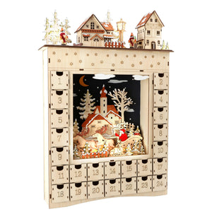 Magical Elven Made Light Up Wooden Advent Calendar (52cm)