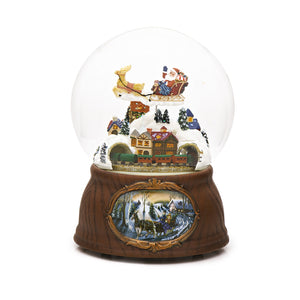 LARGE Santa Sleigh Train and Village Christmas Snow Globe (Musical & Moving)