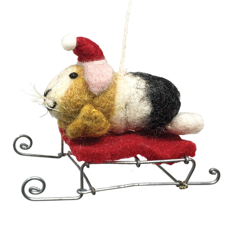 Mini Felt Guinea Pig on Sleigh Christmas tree Decoration
