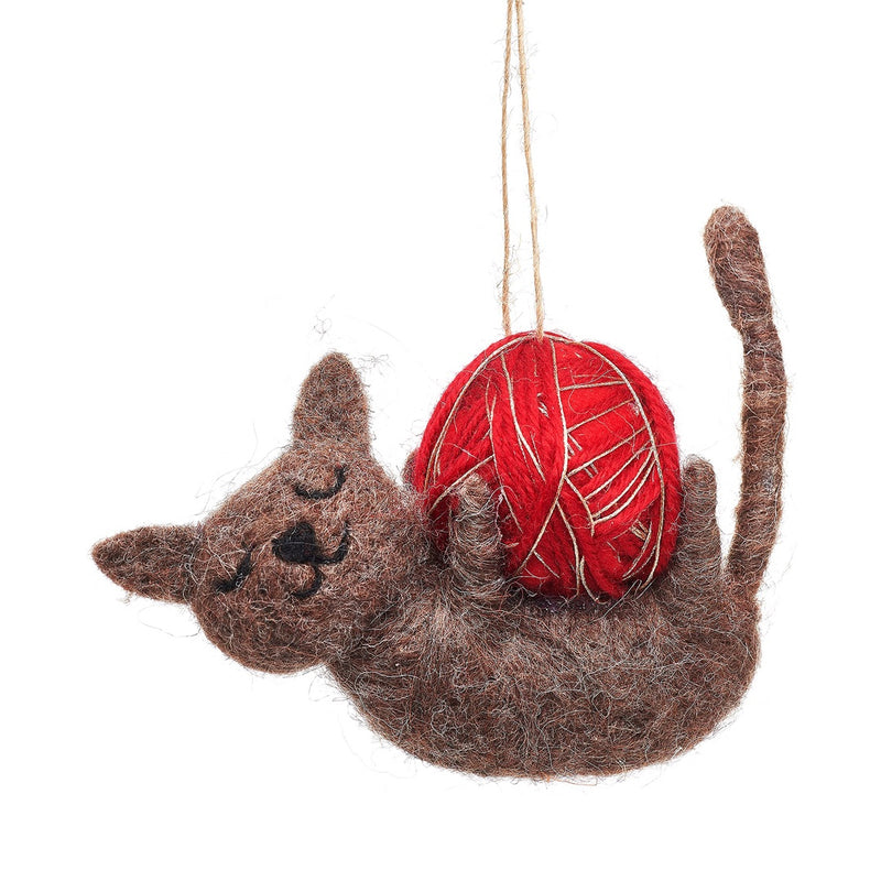 Felt Cat with Ball of Wool Christmas Tree Decoration