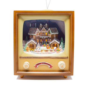 Retro Musical Moving Christmas Gingerbread Television Decoration