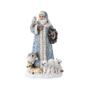 Blue Santa with Baby Animals Christmas  41cm40.5cmDecoration