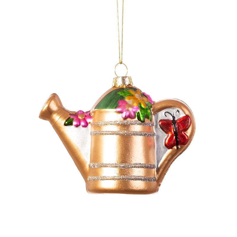 Glass Watering Can Christmas Tree Decoration