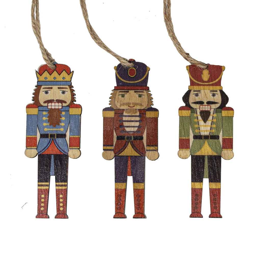 Set of 9 Wooden Nutcracker Christmas Tree Decorations