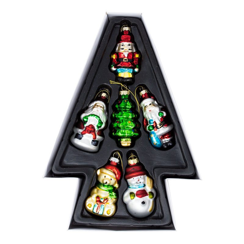 Set of 6 Glass Christmas Tree Decorations
