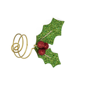 Sparkling Holly Leaf Napkin Ring