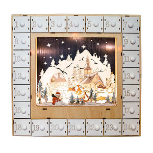 Snowy Mountain Scene Light Up Wooden Advent Calendar