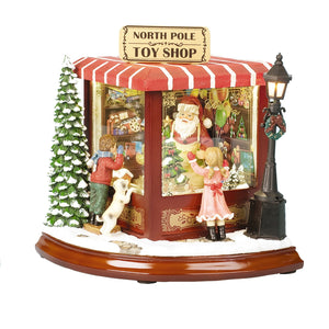 LUXURY SANTA'S TOY SHOP LIGHT UP / MUSICAL CHRISTMAS DECORATION