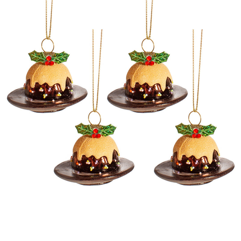 Set of 4 Glass Christmas Puddings on a Plate Tree Decorations