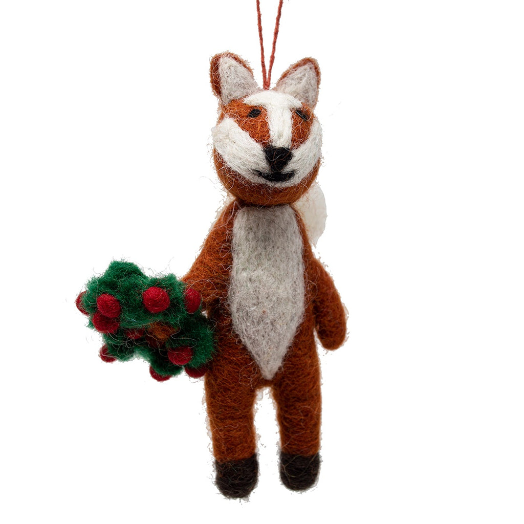 Felt Festive Fox Christmas Tree Decoration