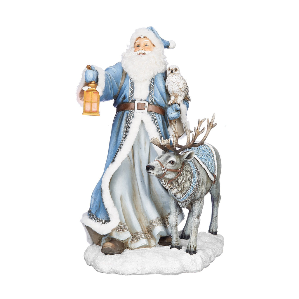 Large Blue and White Santa and Reindeer (Light Up Lantern) 50cm