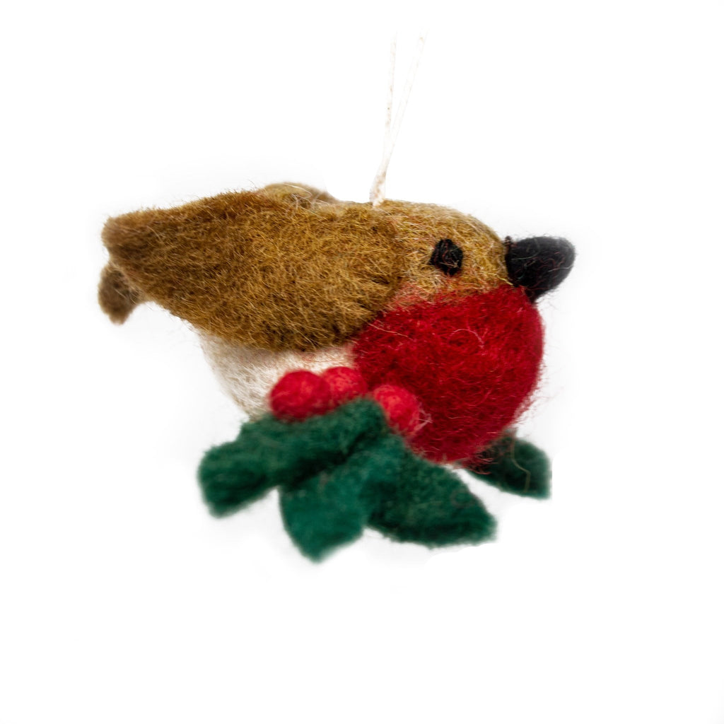 Handmade - Mini Felt Robin on Holly Branch Christmas Tree Decoration