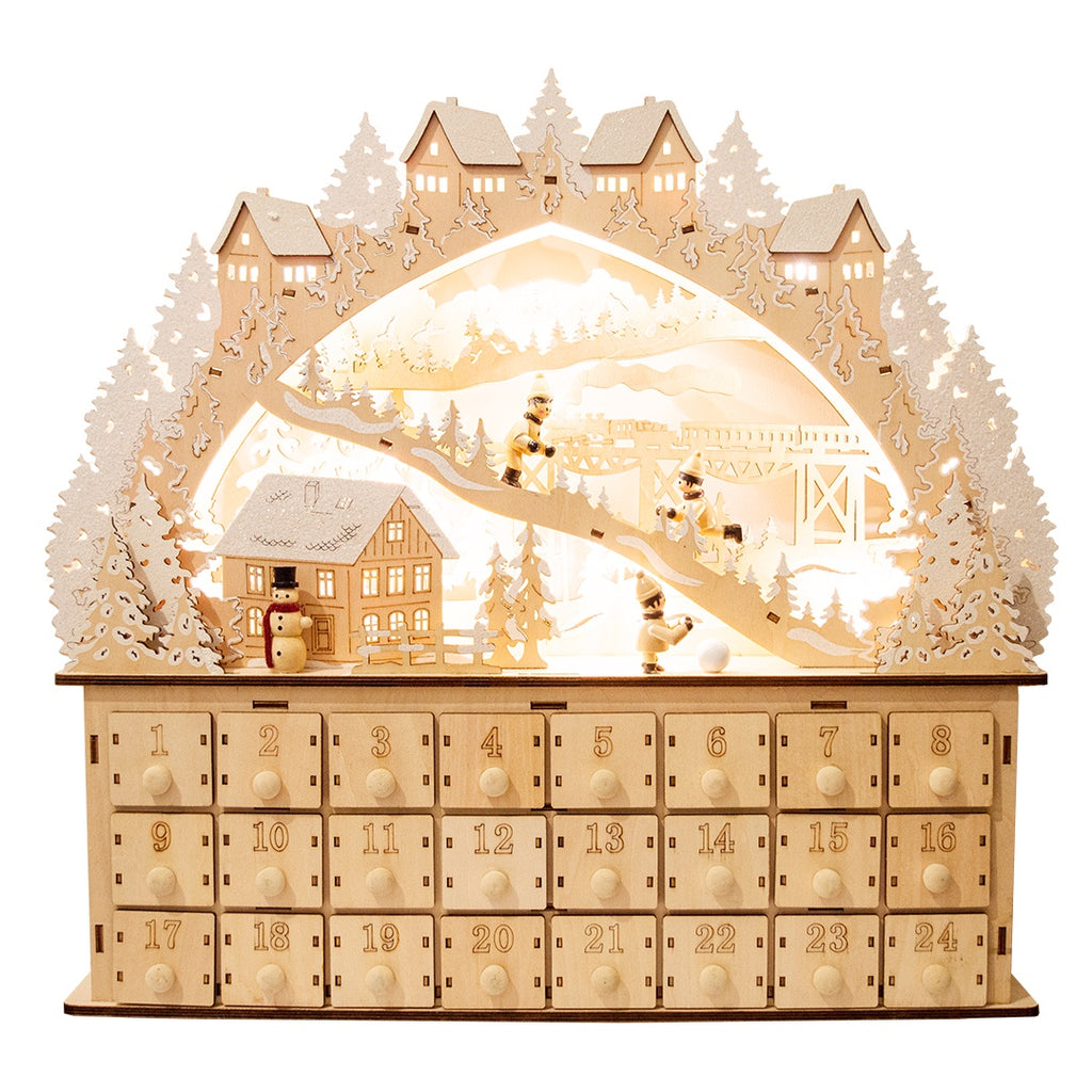 Winter Scene German Wooden Advent Calendar