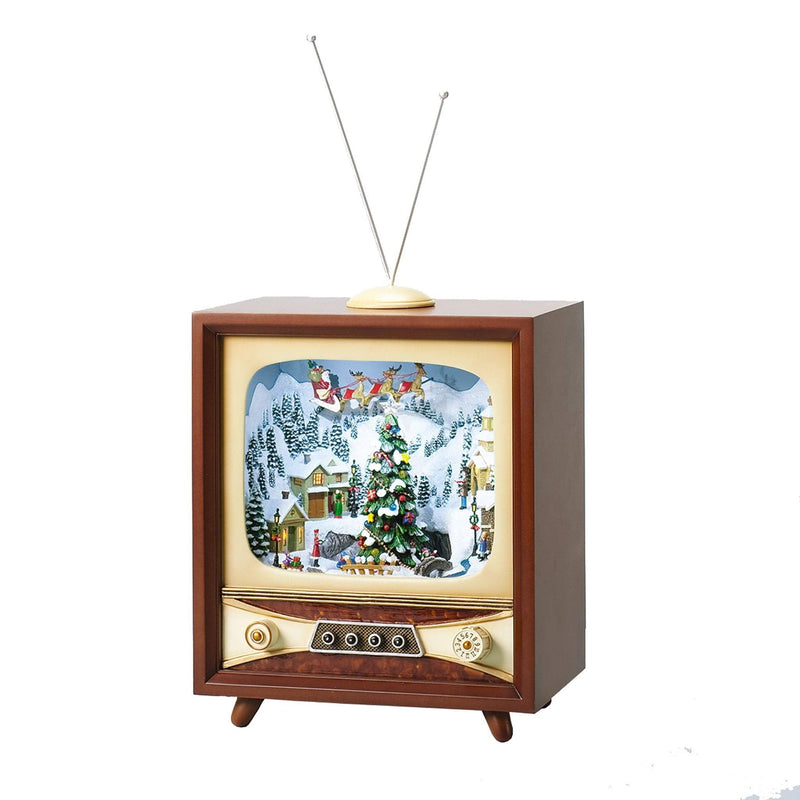 "13"" Musical & Moving Television with Santa on Sleigh"
