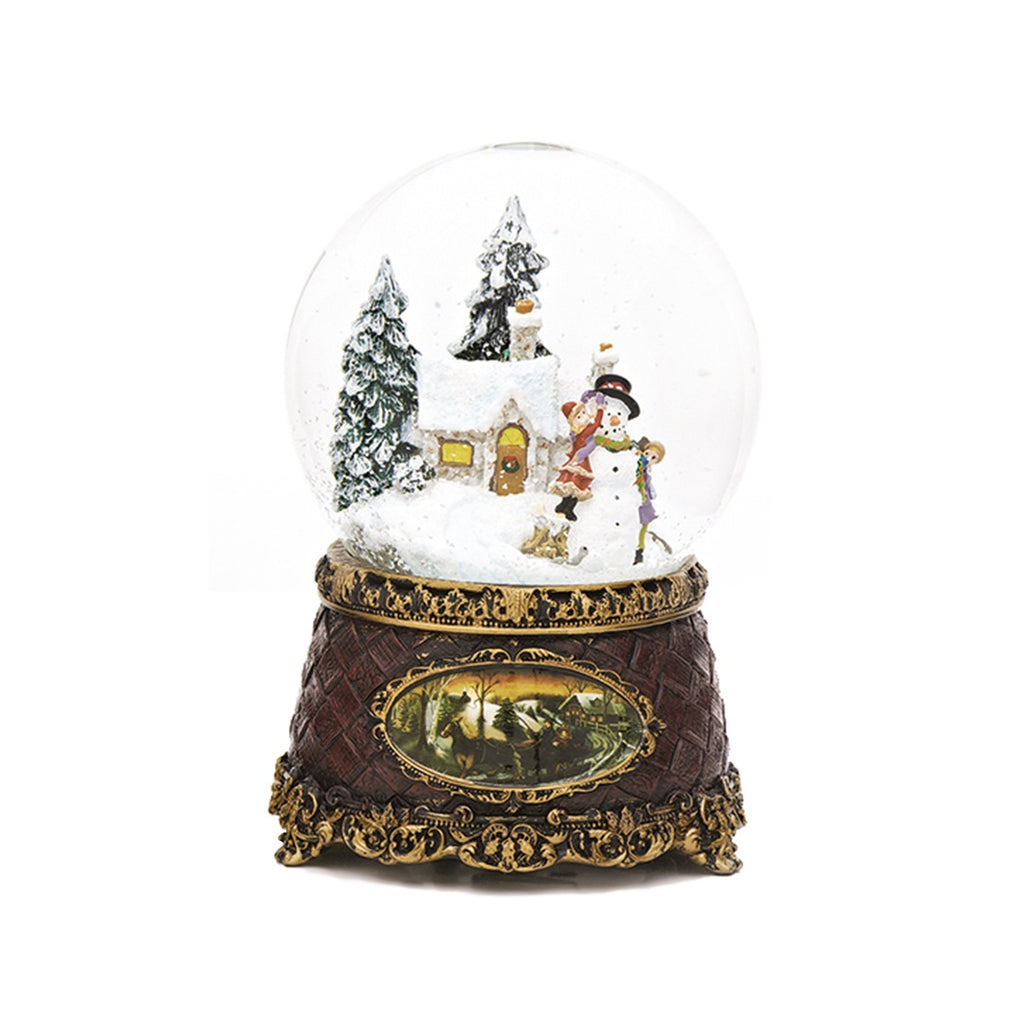 Victorian Snowman and Children Christmas Snow Globe (Musical)