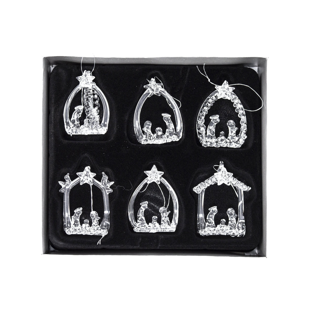 Set of 6 Glass Nativity Christmas Tree Decorations