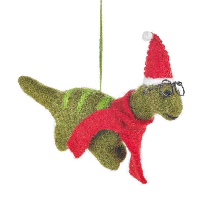 Felt Christmas Dinosaur with Specs Tree Decoration