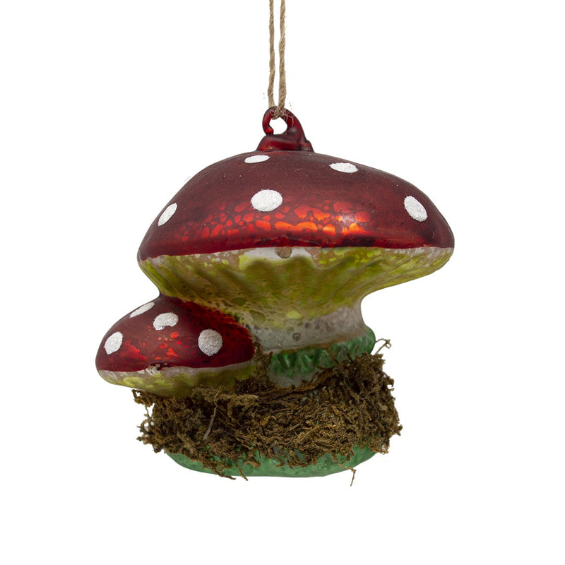 Glass Toadstools Christmas Tree Decoration