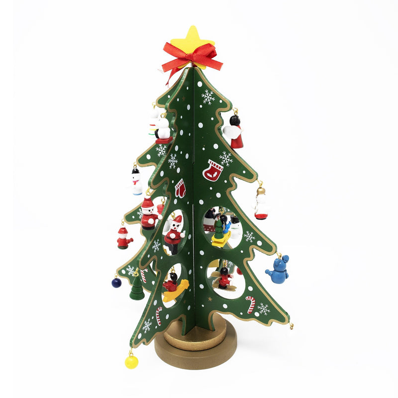 Wooden Christmas Tree with Mini Decorations