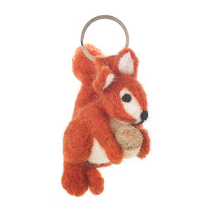 Felt Red Squirrel Keyring