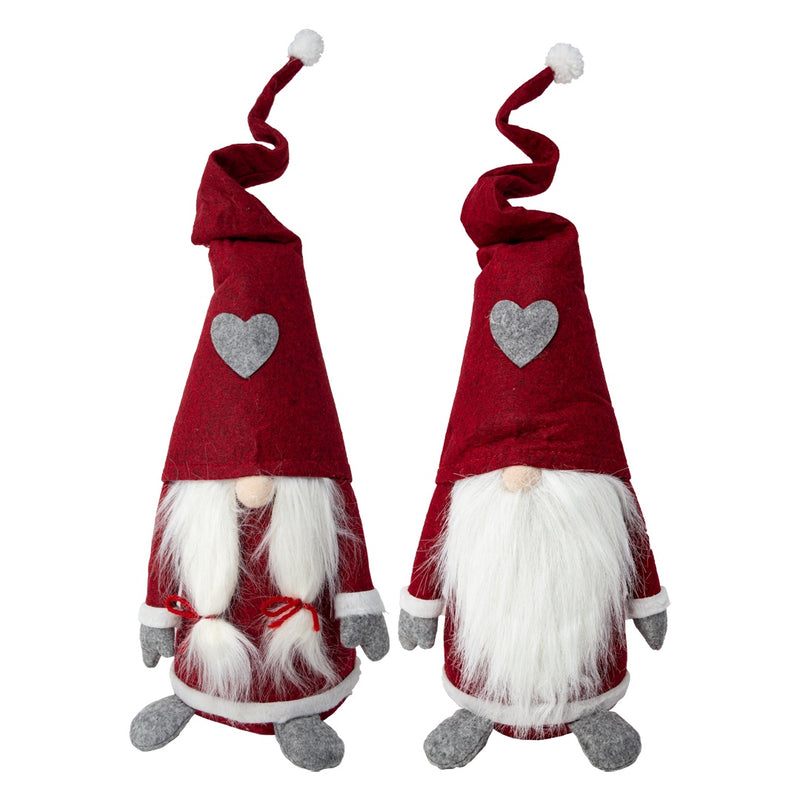 Tomte in Red Felt Hat with Grey Heart 60cm - Choice of 2