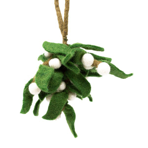 Bunch / Sprig of Felt Mistletoe – Handmade (24cm)