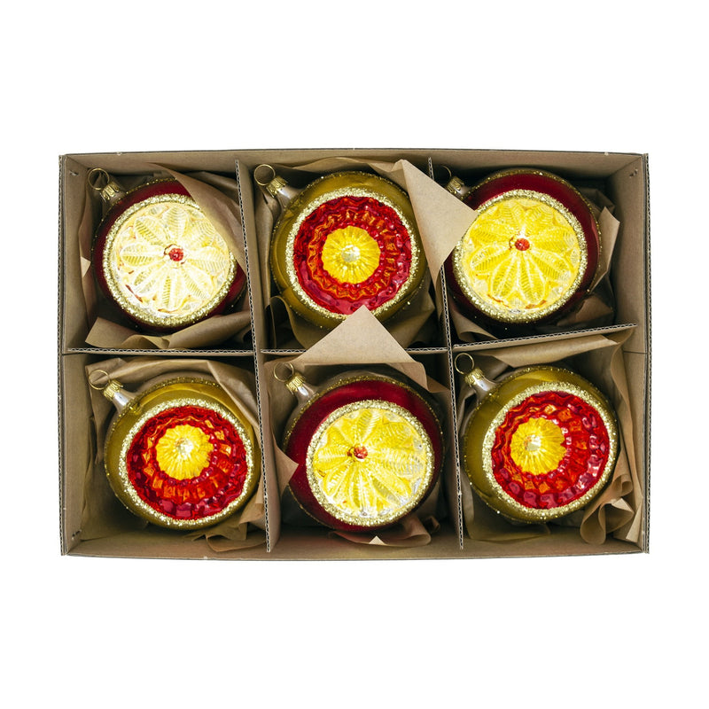 Large Red & Gold Hand Blown Glass Baubles (Set of 6) - 8cm