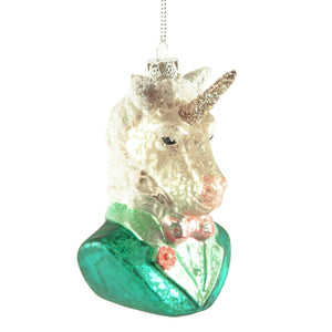 Gentleman Unicorn Glass Christmas Tree Ornament