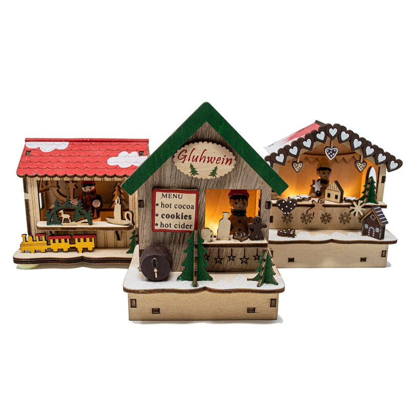 Set of 3 German Christmas Market Light Up Chalets