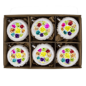 Rainbow Handblown Vintage Glass Christmas Baubles (Set of 6)