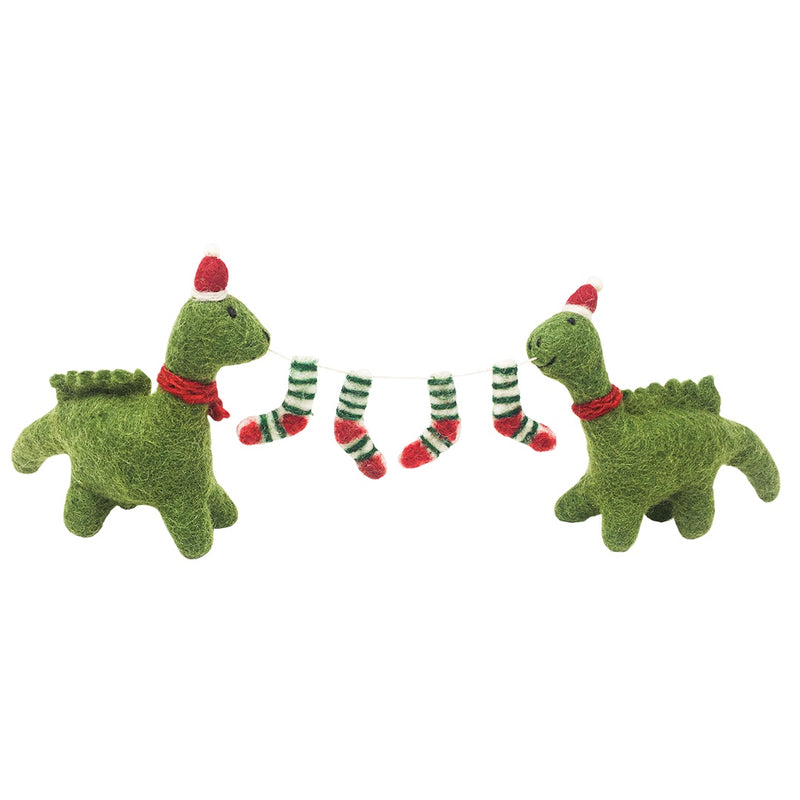 Pair of Felt Diplodocus with Christmas Stocking Garland