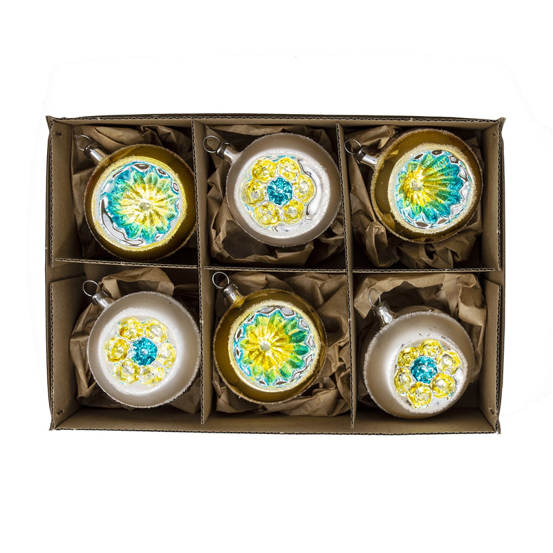 Blue & Gold Handblown Glass Baubles (Set of 6) - 6cm