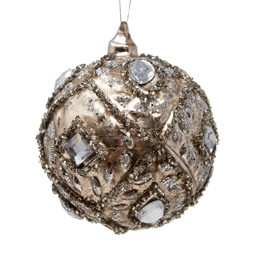 Large Frosted Silver Glass Christmas Bauble with Jewels