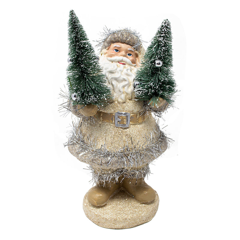 Champagne Woodland Jolly Santa Claus Christmas Decoration