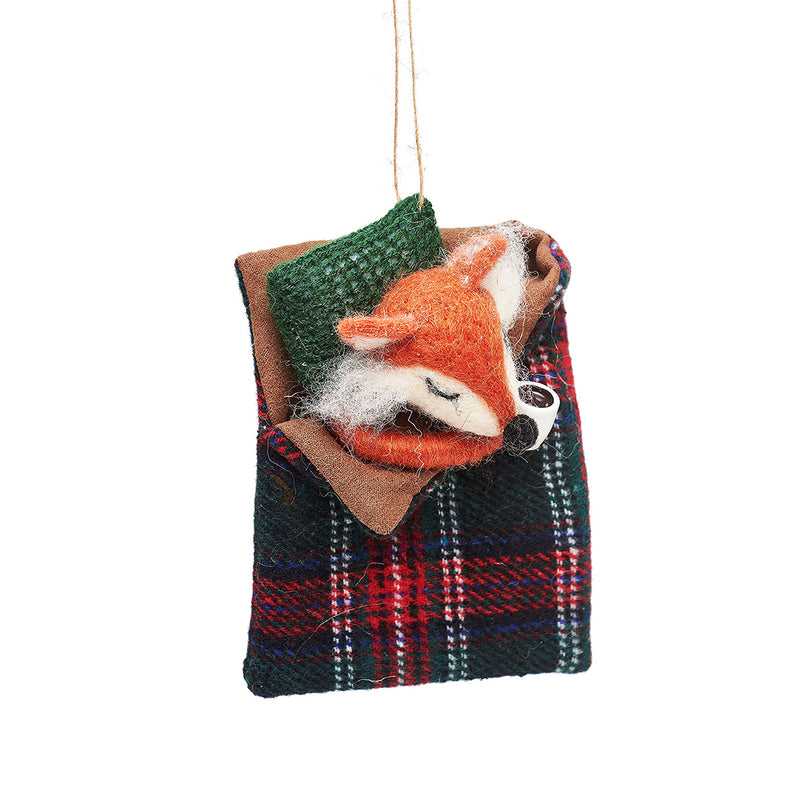 Felt Fox in Sleeping Bag Christmas Tree Decoration