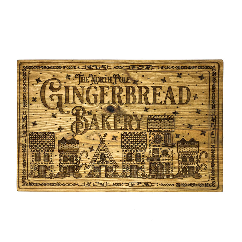 Gingerbread Bakery Elfmade Wooden Sign 44cm
