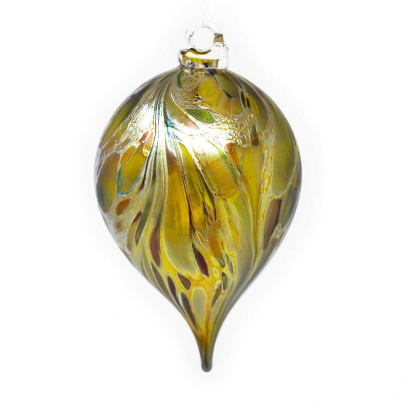 Isle of Wight Studio Glass - Northern Lights Gold Teardrop Christmas Bauble