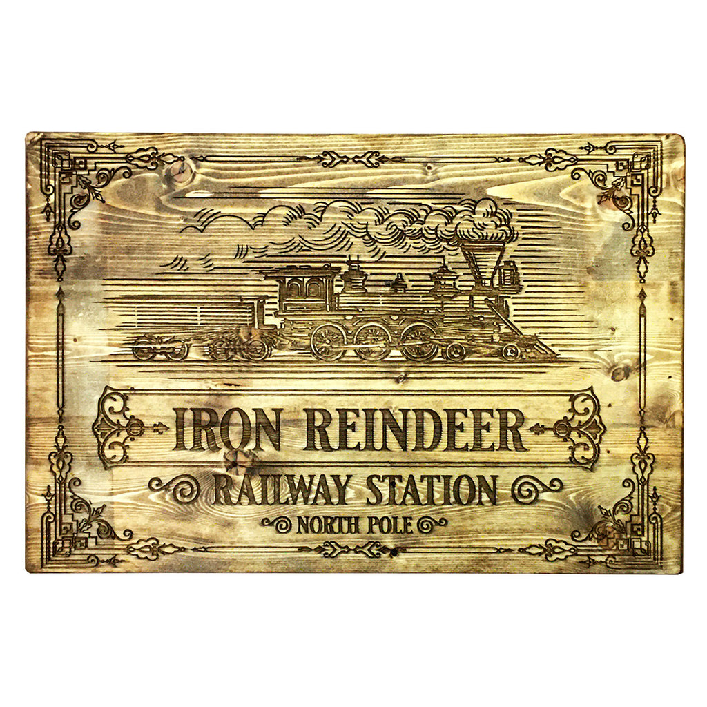 Iron Reindeer Railway Station Sign