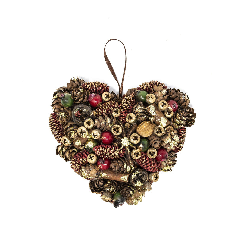 Handmade Natural Red & Green Heart Christmas Tree Decoration