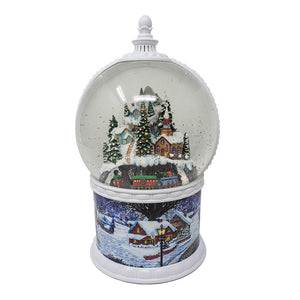 Moving Light Up Swirl Dome Snow Globe With Train