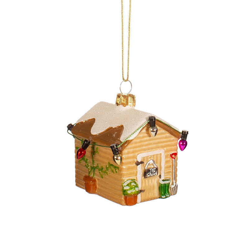 Glass Mini Shed Christmas Tree Decoration