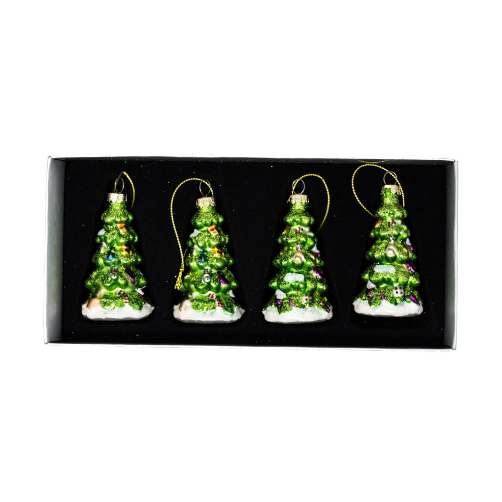 Set of 4 Glass Christmas Tree Decorations