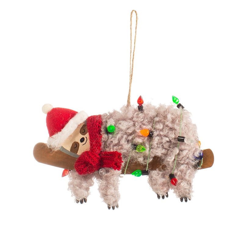 Festive Sloth Christmas Tree Decoration