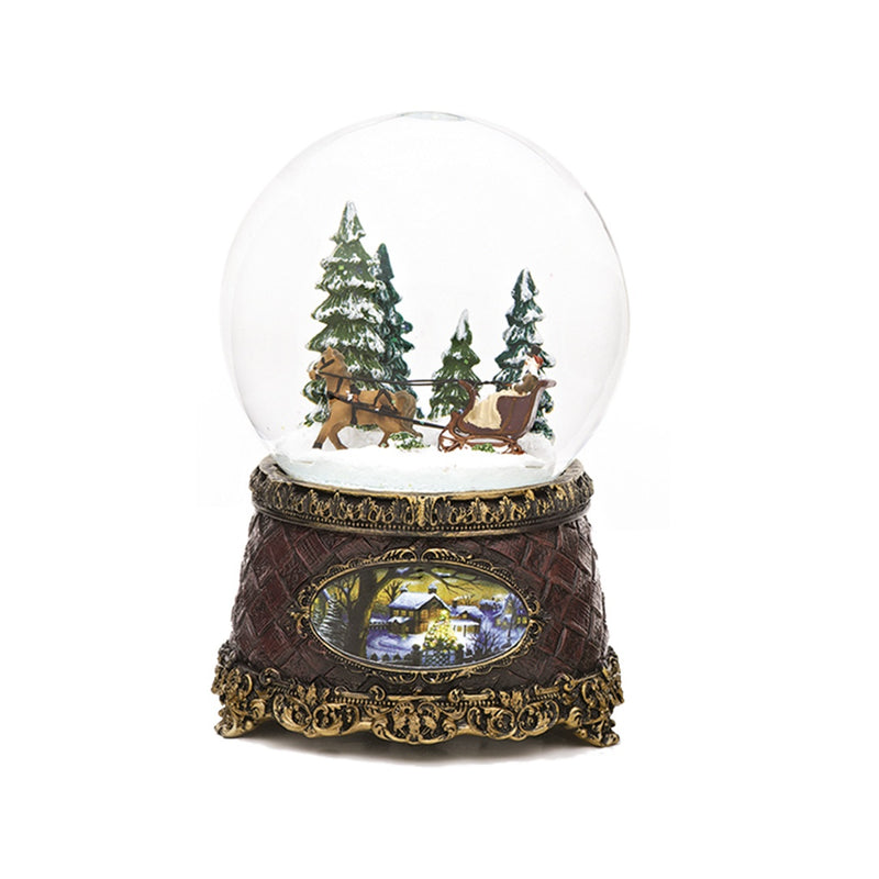 Victorian Sleigh Ride Christmas Snow Globe (Musical)