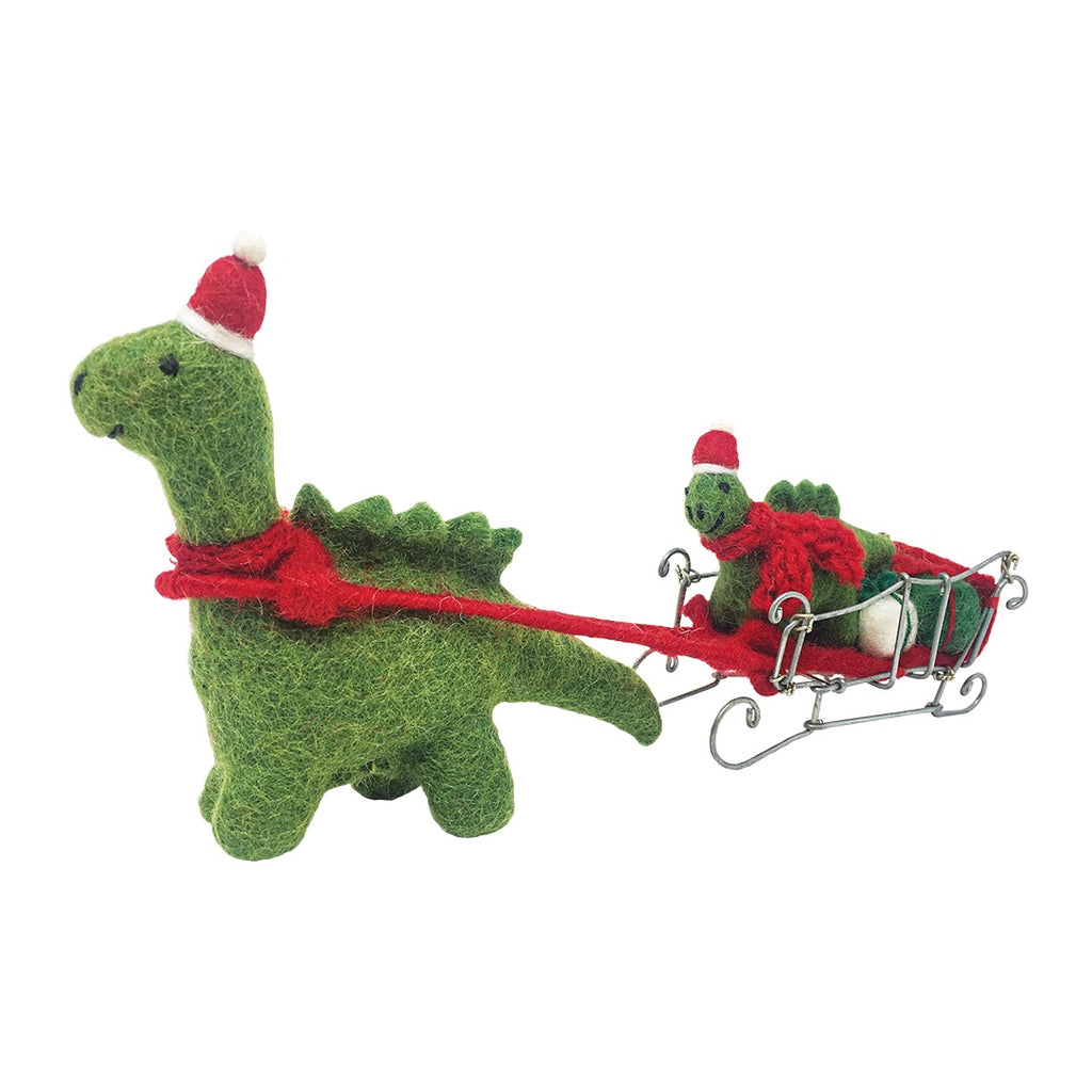 Felt Diplodocus Delivering Presents on Sleigh